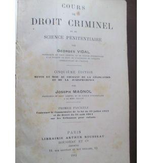 Cours de droit criminel et de science penitentiaire